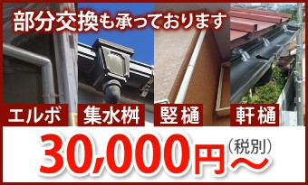雨樋の部分交換も承っております。30000円~