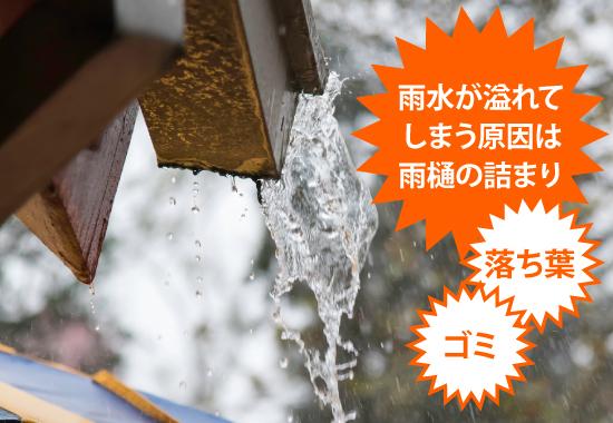 雨水が溢れてしまう原因は雨樋の詰まり