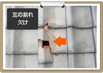 瓦の割れ欠け