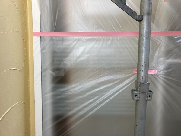 名古屋市名東区 外壁塗装 養生の様子