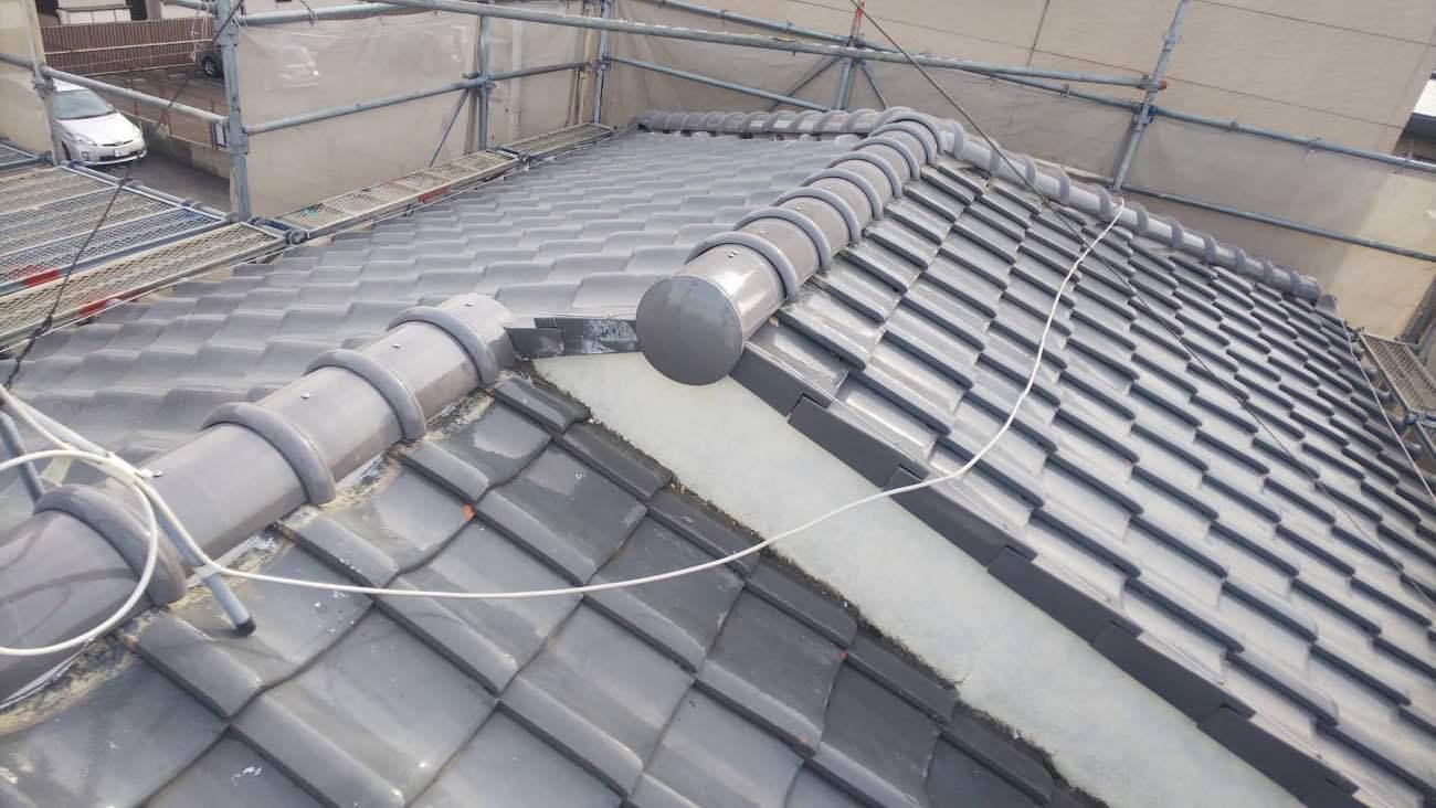 愛西市で屋根の修理 雨漏りしていた棟の取り直し工事をしました
