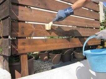 木フェンス塗り工事1
