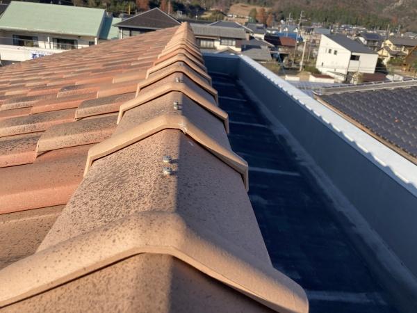 瓦屋根の点検 棟部分