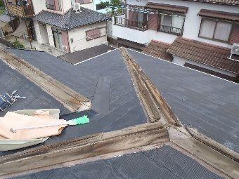 棟板金の貫板下地状況①