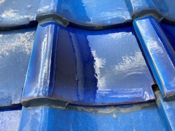 瓦の差し替え 青緑瓦