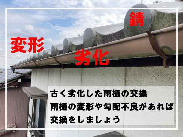 春日井市で劣化して変形した雨樋の修理交換工事