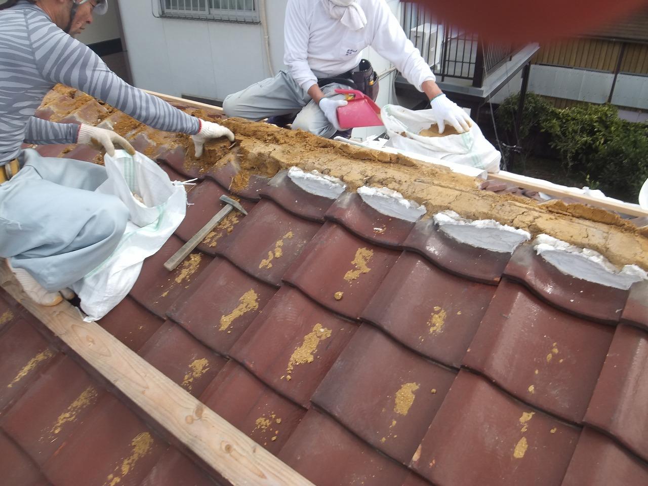 台風による棟の補修事例