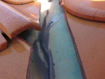 谷板金 銅板に穴 応急処置