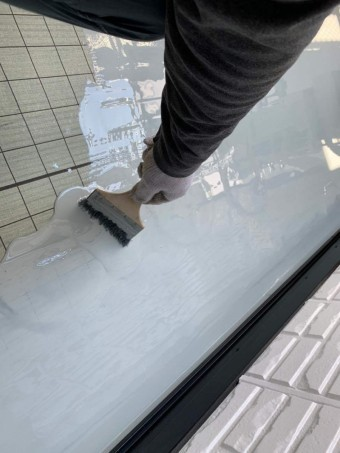ベランダ防水工事 ウレタン防水塗布