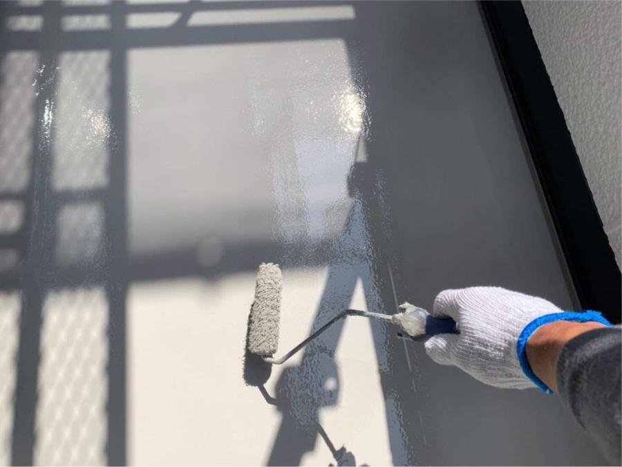 ベランダ防水工事 トップコート塗布