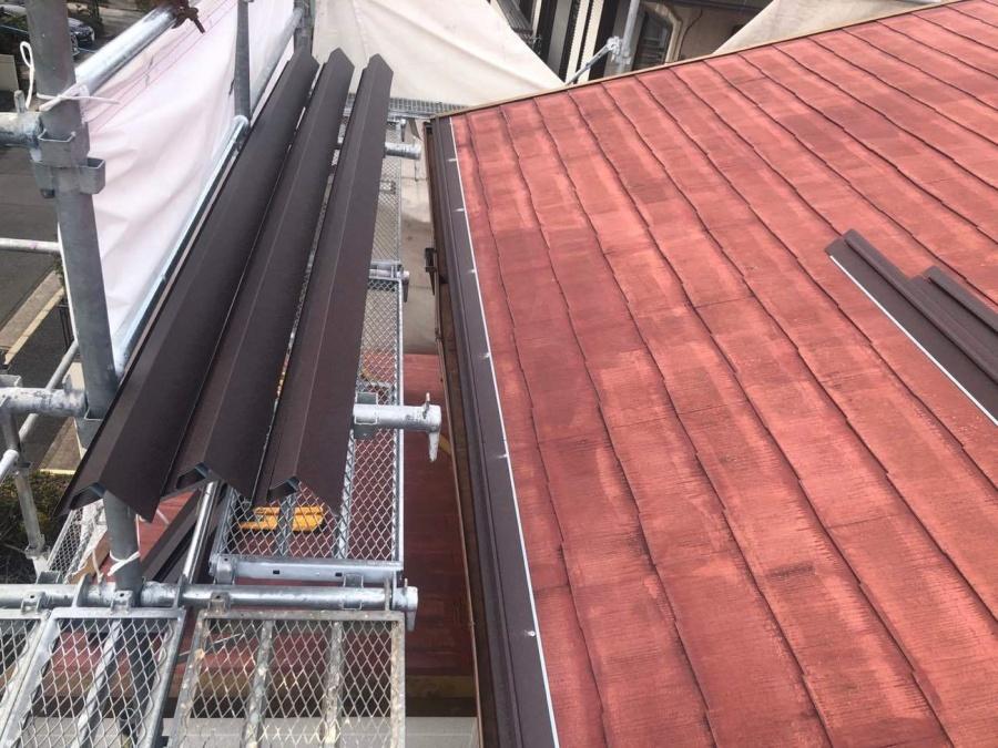 屋根カバー工法 軒先水切り取付