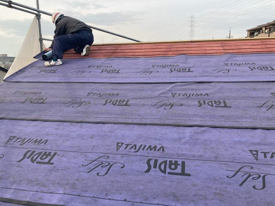 屋根カバー工法 防水シート張り