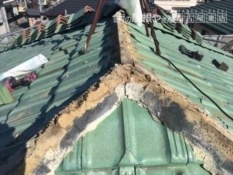 棟の取直し 平板瓦