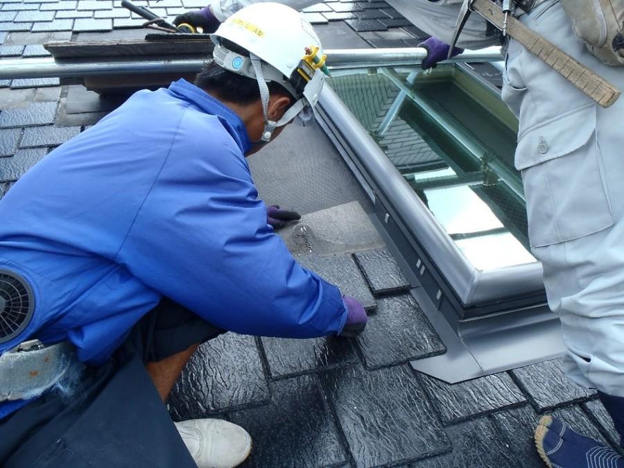 トップライト取替 屋根材復旧