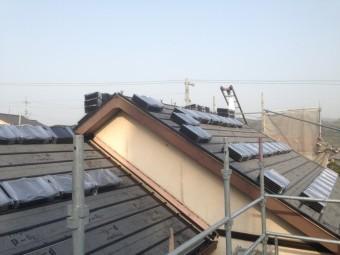 屋根葺き替え工事 材料荷上げ