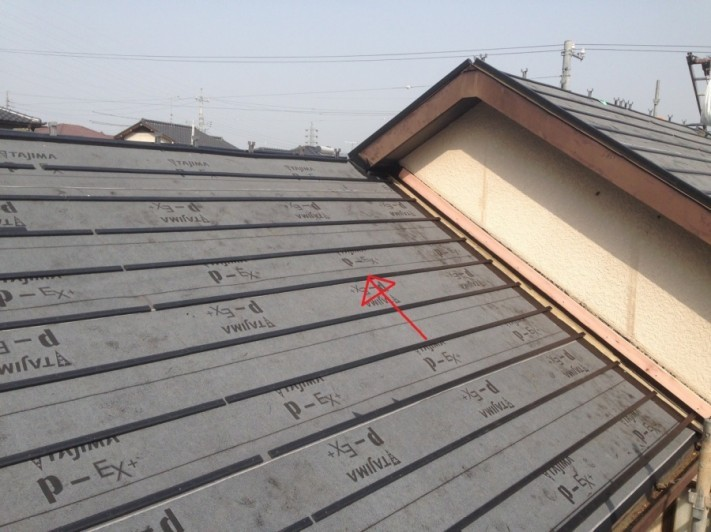 屋根葺き替え工事 桟木取付