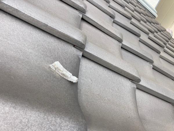 屋根には漆喰の欠片が