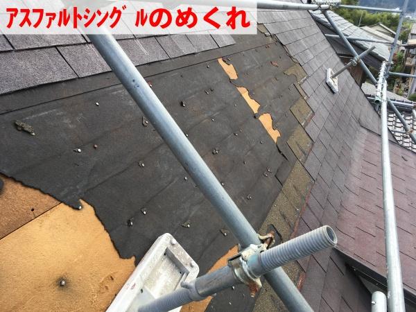 台風被害でアスファルトシングルにめくれが発生